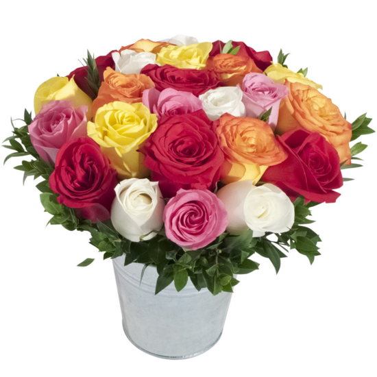Assorted roses in a tin pail
