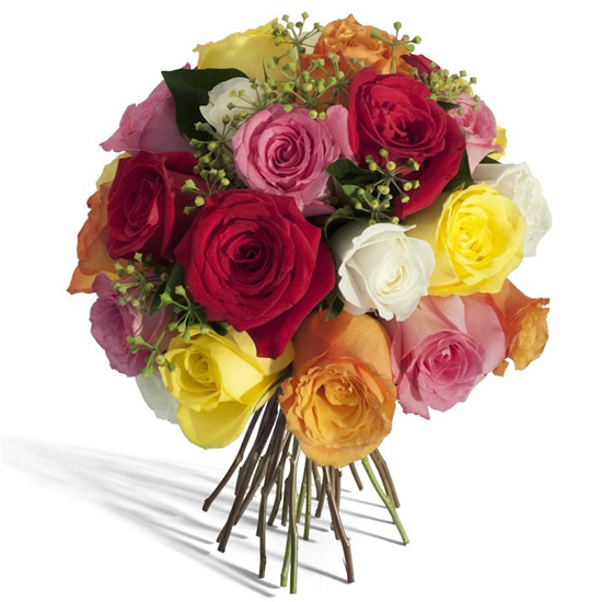 Assorted Roses Round Bouquet