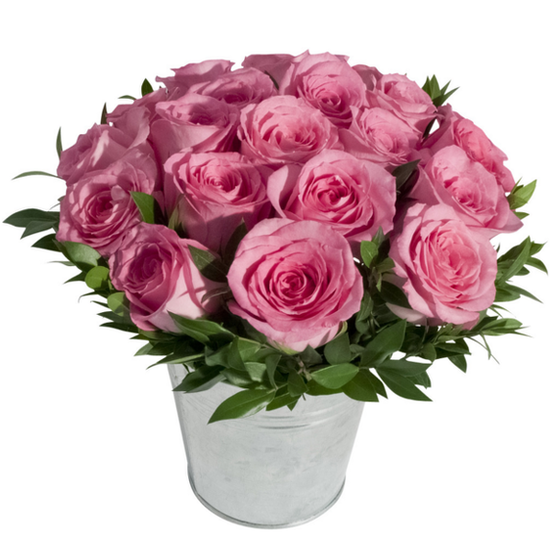 Pink Rose Tin Pail