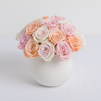 Mixed Pastel Preserved Roses arrangement
