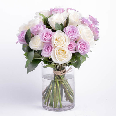 Purple and White Rose Bouquet