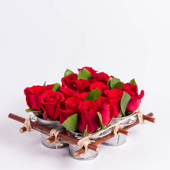 Red roses in mini rose tin pails