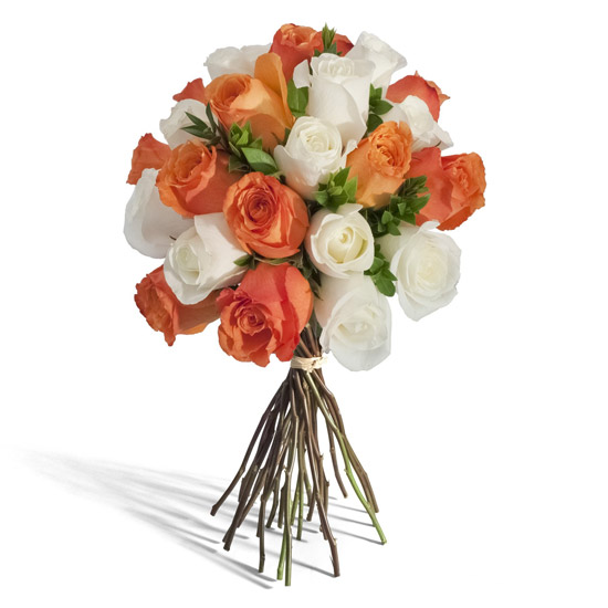 Orange and White Rose Bouquet